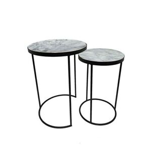Marble Nest of 2 tables -   Black