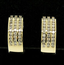 14k Yellow Gold 1.00ctw Round Diamond Channel Omega Back Wide Cuff Earrings