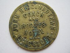 Coach and Horses Hotel Longsight, 2d bowling and quoiting pub token, brass 26mm.