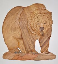 Large Brown Bear Intarsia Wood Art - Wood Decor Wall Hanging - NEW