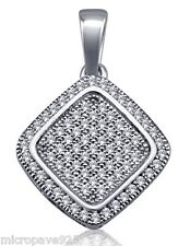 925 Sterling Silver Square Shaped Pendant With Pave Set Cubic Zirconia Stones