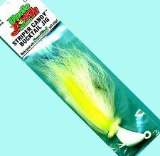 Uncle Josh 2-1/2 oz Chartreuse & White Striper Candy Bucktail Fishing Jig
