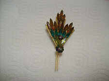 Brooch Fan Design Vintage Amber/Green Oblong Marquise Rhinestone Open Back