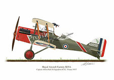 SE5A  Vintage Aircraft Profile Artwork Albert Ball A4 Glossy Print WW1 signed
