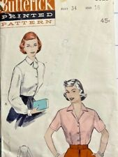Butterick 5929 Vintage 1950;s Fitted Bouse Sz 16 Bust 34 CUT