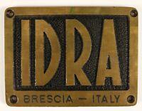 IDRA Brescia Messing-Plakette Schild 50er Jahre Druckgussmaschine Italien