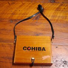 Vintage COHIBA Lacquered Wooden Cigar Box Purse w/ Leather Strap