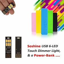 2Pcs Soshine USB Power 6-LED Light Touch Dimmer Light + 1Pc PowerCell Powerbank