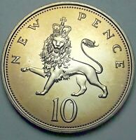 1971 GREAT BRITAIN 10 NEW PENCE PROOF FLAWLESS UNC COLOR GEM BU TONED (DR)
