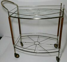 Vtg. Mid-Century Modern Teak Metal Glass Rolling Bar Tea Cart - Atomic Sunburst