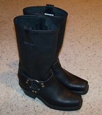 NEW FRYE Women's Black Leather 12R, Harness Biker Boots 6.5 M, 77300, Square Toe