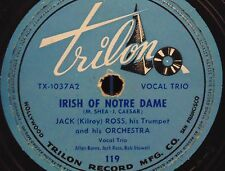 Jack (Kilroy) Ross - Irish of Notre Dame & Tea for Two -  78 rpm - VG - RARE