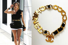 FABULOUS VINTAGE CHANEL LARGE 18K GOLD CC LOGO COCO CHAIN BLACK LEATHER BELT