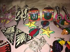 Novelty Earrings Some With Mayan,Aztec Theme Superb Group of 16 Pairs of