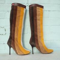 Miss Sixty Suede Leather Boots Uk 3 Eur 36 Pull on Brown Yellow White Stripe