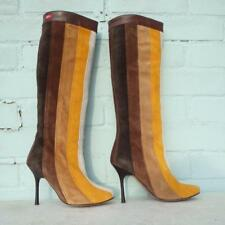 Miss Sixty Suede Leather Boots Size Uk 3 E 36 Pull on Brown Yellow White Stripe