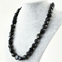 Black Spinel 646.50 Cts Natural 20 Inches Long Untreated Faceted Beads Necklace