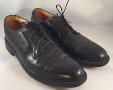 Florsheim Imperial Mens Vtg Black Plain Toe Blucher Pebbled 5 Nails Shoes 10 B