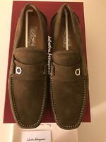 New Auth. Salvatore Ferragamo Clip Men  Suede Tan Moccasin Loafers Logo 8 $695