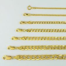"Oro Amarillo 14K 2mm-7.5mm collar colgante cadena de Bordillo CUBANO Enlace pulsera 7"" -30"""