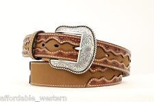 Brown SADDLE STAMP Leather ~ MAN'S WESTERN BELT ~ Silver Buckle Cowboy NOCONA 14