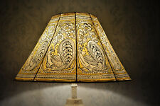 Yellow Peacock Lamp Shade, Large Floor Lampshade | Handmade Leather Lampshade