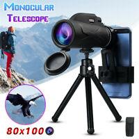 80X100 Hiking Monocular Telescope HD Zoom Lens Prism+Universal Phone Clip+Tripod