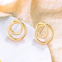 Circle Shape Hoop Earrings For Women Alloy Jewelry Gift Bridal Engagement Party