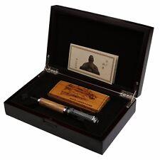 Duke Confucius Bamboo Barrel Fountain Pen 0.7mm Nib Chromed Wooden Box Gifts New