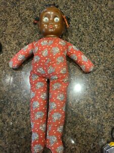 20 IN  antique composition & cloth Googly Eyed AFRICAN AMERICAN BLACK Doll