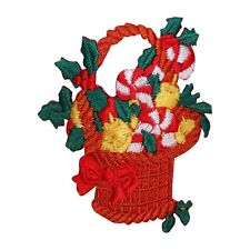 ID 8190A Candy Cane Christmas Basket Patch Decorate Embroidered Iron On Applique