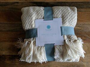 """Martha Stewart Collection Bradley Throw Blanket (Ivory) 50"""" x 60"""""""