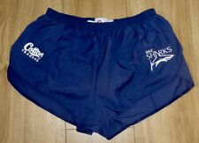 SALE SHARKS RUGBY-Embroidered Lined Athletic Shorts Superb NEW-XLARGE-DARK NAVY
