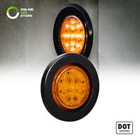 2.5 inch DOT Amber Round Trailer LED Marker Lights w/ Grommet for Truck