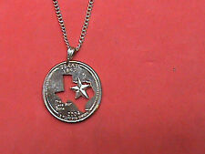 Hand Cut Texas State Quarter made into a Necklace with a 24 inch Silver Ton