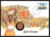 1986 Sierra Leone Africa Merlin of Bristol ship stamp and coin on cover Native