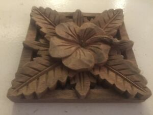 Balinese Solid Wood Hand-Carved Floral 1 Square piece,  HAVE DIFFERENT DESIGNS
