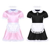 Sexy Men Sissy French Maid Uniform Fancy Satin Dress Fancy Costume Set Clubwear