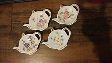Lefton China Tea Bag spoon Holder White with Flowers Floral hand painted