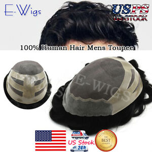 Fine Mono Mens Toupee Hairpiece Scallop Poly Skin Systems Human Hair Replacement