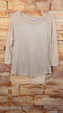 Old Navy Metallic Knit Top Tunic Size L Womens Beige  Scoop Neck
