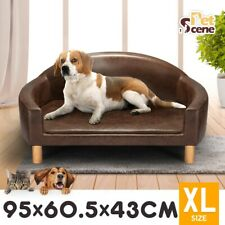 Petscene PU Leather Pet Bed Elevated Dog Cat Bed Couch Sofa Soft Bed Brown