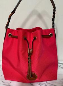 Dooney & Bourke Drawstring Bucket Pink Nylon Shoulder Bag L