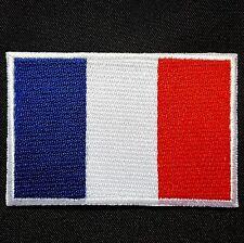 Francia Stemma toppa ricamata termoadesiva bandiera Blu Bianco Rosso 7 x 4,5cm