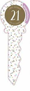 21st Birthday Confetti Signature Key Keepsake Guest Book 36cm x 12cm
