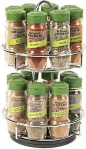 McCormick Gourmet Two Tier Chrome 16 Piece Organic Spice Rack Organizer with ...