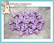 ~BabyRou~ 20pc Dog Grooming Ribbon Pet Bows (Classic Lilac & Gold)