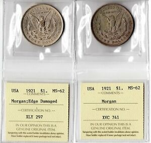 USA 1921 Silver Morgan Dollars ICCS Certified MS-62 Lot of 2 Coins Nice Toning