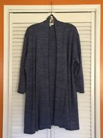 1X/2X/3X New French Blue Black Heathered Long Cardigan Sweater Duster Knit Coat