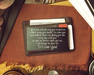 Engraved Metal Wallet Insert Card, Anniversary Gift Husband, Boyfriend Love Note